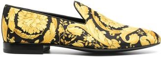 Versace Barocco-print silk slippers