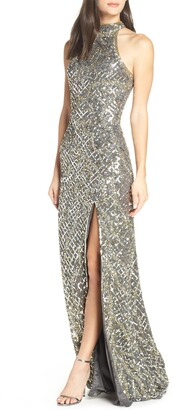 Mac Duggal Beaded A-Line Halter Gown