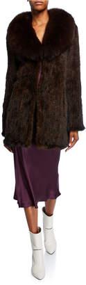 Belle Fare Long Mink Fur Wrap Coat w/ Fox Fur Trimming