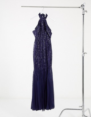 Goddiva cut-out shoulder high-neck embellished dress in navy