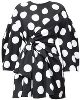 Carolina Herrera Knotted Polka-dot Cotton-twill Mini Dress - Womens - Black White
