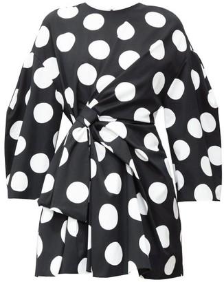 Carolina Herrera Knotted Polka-dot Cotton-twill Mini Dress - Womens - Black White