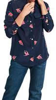 Hush Silk Bird Print Shirt, Midnight/Pink