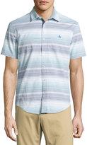 Original Penguin Striped Short-Sleeve Sport Shirt, Dark Denim