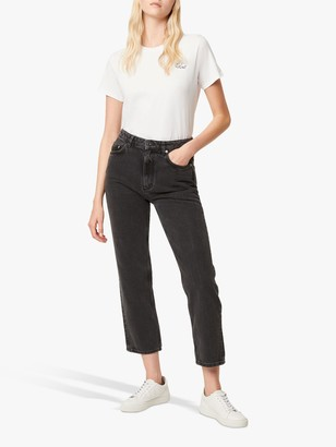 French Connection Lillian High Waist Straight Jeans, Washed Black