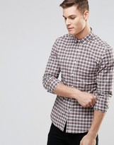 Asos Skinny Shirt In Beige Plaid Check With Long Sleeves
