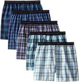 Hanes Men's 5-Pack Woven Exposed Waistband Boxers
