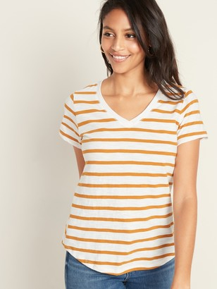 Old Navy EveryWear Slub-Knit Striped V-Neck Tee for Women