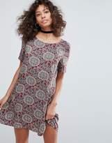 Glamorous Short Sleeve Printed Swing Dress
