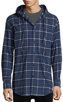 Balenciaga Hooded Plaid Flannel Button-Down Shirt
