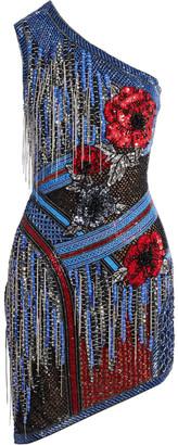 Balmain Asymmetric One-shoulder Embellished Stretch-tulle Mini Dress