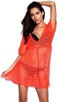 RELLECIGA Women's Crochet Tunic Beach Dress with Drawstring Size S/M Solid Yellow