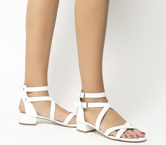 Office Manhattan Strappy Block Heels White