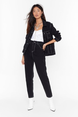 Nasty Gal Womens Explain the Stitch-uation Denim Mom Jeans - black - 14