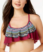 California Waves Hypnotic Optic Strappy-Back Flounced Bikini Top, Available in D/DD