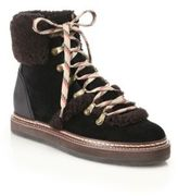 See by Chloe Eileen Suede & Shearling Lace-Up Booties