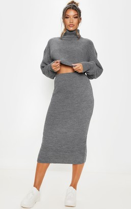 SWAGGER Grey Ribbed Knitted Midi Skirt