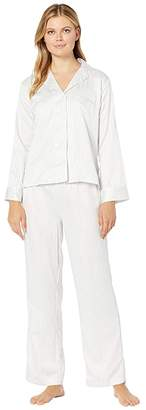 Lauren Ralph Lauren Satin Long Sleeve Notch Collar Ankle Pants PJ Set