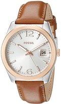 Fossil Women's ES3827 Perfect Boyfriend Three-Hand Date Leather Watch - Dark Brown