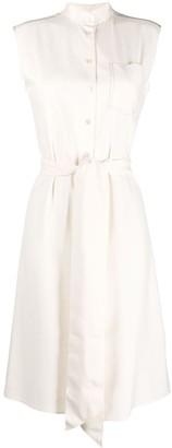 Salvatore Ferragamo Tie Waist Sleeveless Shirt Dress