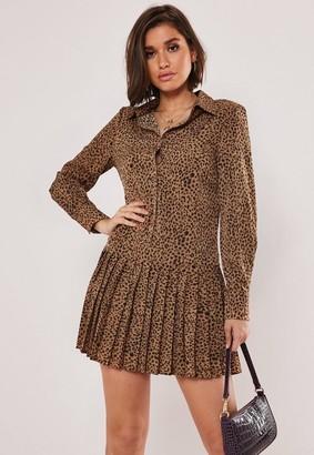 Missguided Animal Print Pleated Hem Shirt Dress