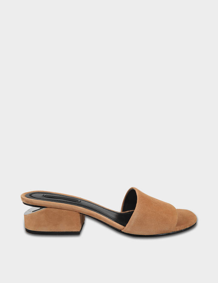 Alexander Wang Lou Low Heel Sandals in Clay Goatskin Leather