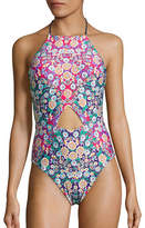 Nanette Lepore Desert Diamond Plunge Cut-Out One-Piece Swimsuit