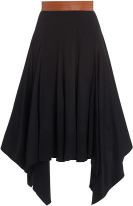 Loewe Leather-Trimmed Crepe Midi Skirt