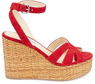 Prada Suede Basketweave Wedge Sandals