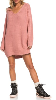Roxy Baby Crush Cable Knit Long Sleeve Sweater Dress