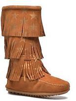 Minnetonka Kids's Star 3 Layer Zip-Up Boots In Brown - Size Uk 11 Kids / Eu 29