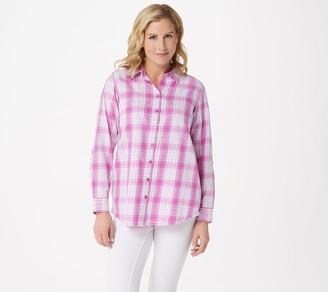 Joan Rivers Classics Collection Joan Rivers Plaid Shirt with Fringe Hem
