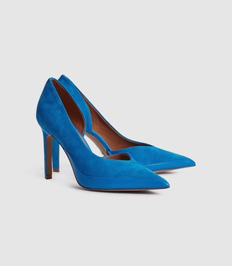 Reiss Alenna - Suede Court Shoes in Cobalt Blue