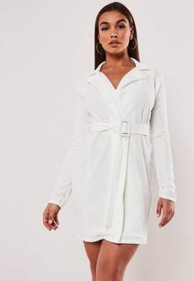 Missguided White Self Belted Stretch Wrap Blazer Dress