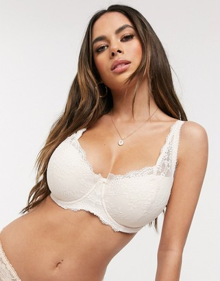 Pour Moi? Pour Moi Fuller Bust Flora mini floral lace high apex padded bra in pearl