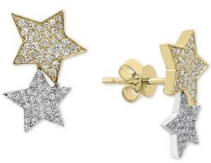 Effy Diamond Stars Stud Earrings (1/2 ct. t.w.) in 14k Gold & White Gold