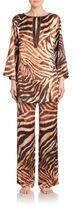Josie Natori Zebra Print Silk Tunic Pajamas