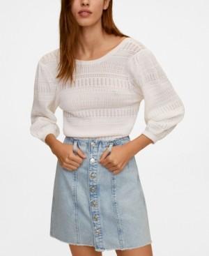 MANGO Women's Buttoned Denim Skirt