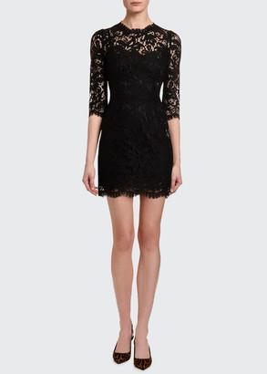 Dolce & Gabbana 3/4-Sleeve Heavy Lace Dress