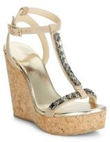 Jimmy Choo Embellished Suede T-Strap Wedge Sandals