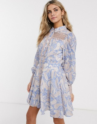 We Are Kindred sorrento paisley print mini shirt dress