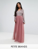 Maya Petite Sequin Top Tulle Maxi Dress With Fluted Sleeve Detail