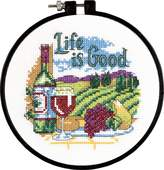 Dimensions Learn-A-Craft-Life is Good-Inch Counted Cross Stitch Kit, 14 Count, 6-Inch
