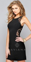 Faviana Stretch Jersey With Lace Back Homecoming Dress