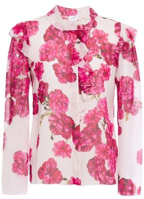 Giambattista Valli Ruffled Floral-print Silk-chiffon Shirt