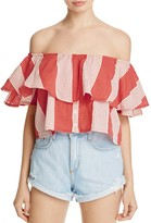 Faithfull The Brand Salerno Off-the-Shoulder Stripe Crop Top