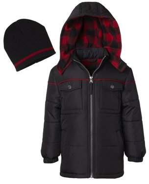 iXtreme Toddler Boy Buffalo Plaid Lined Winter Coat with Free Gift Hat, 2pc Set