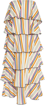 Caroline Constas Tiered Striped Cotton Dress