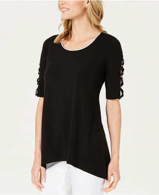 JM Collection Piped Open-Sleeve Top