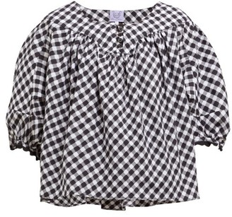 Thierry Colson Vichy Theda Gingham Cotton Blouse - Womens - Black Multi